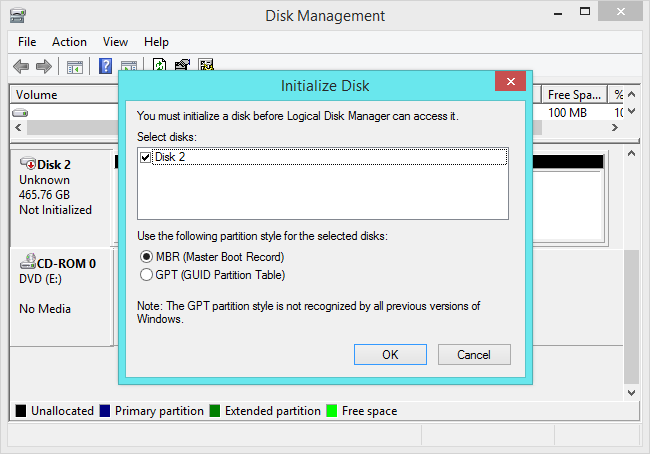 create mbr or gpt partition table