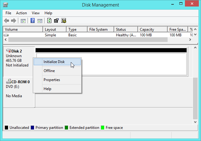 initialize disk with disk management tool