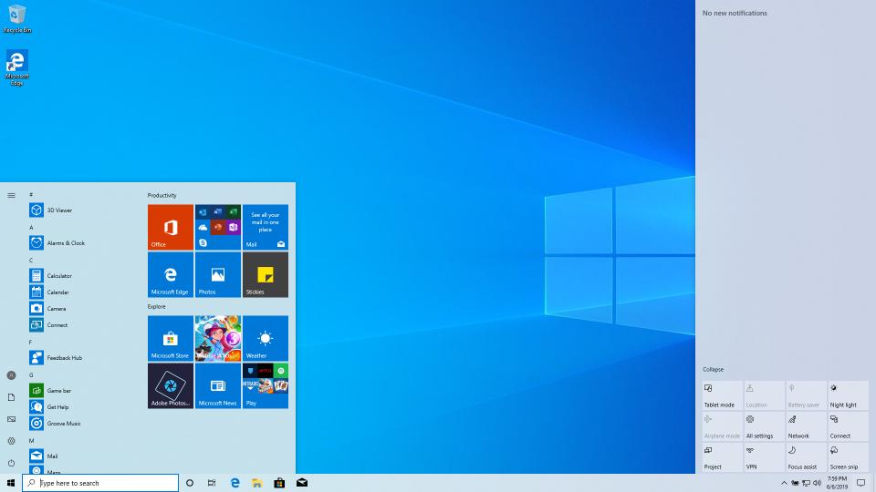 Windows 10 1903 Desktop