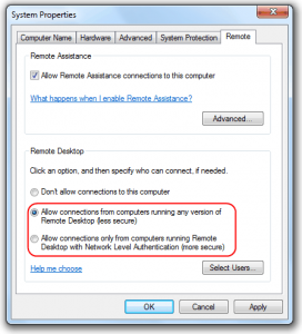 Windows 7 Home Premium Remote Desktop Connection